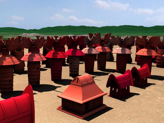 仁徳天皇陵古墳が造られた当時のCG映像(アプリ「百舌鳥ナビ」より)