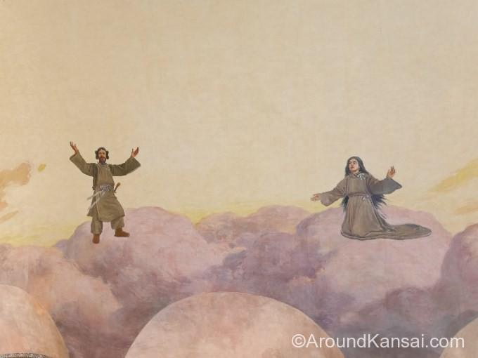 イザナギ、イザナミが天の瓊矛(あめのぬぼこ)を授かるため手を広げています