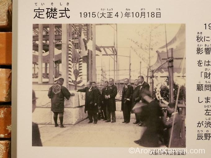 定礎式のようす。辰野金吾(右から3人目)、渋沢栄一(定礎石に右手を置く)も写っています
