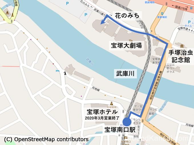 """宝塚南口駅から宝塚大劇場へのルートマップ(<a href=""""https://www.openstreetmap.org/copyright"""" rel=""""noopener"""" target=""""_blank"""">©OpenStreetMap</a>)"""
