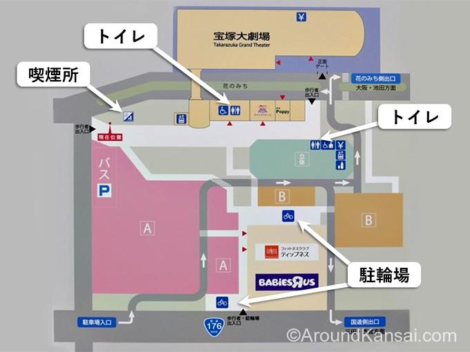 宝塚大劇場・北駐車場にあるトイレ、喫煙所、駐輪場